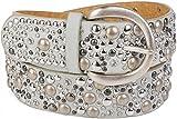styleBREAKER Nietengürtel im Vintage Style, breiter Gürtel mit Nieten und Strasssteine, Glitzergürtel, kürzbar, Damen 03010020, Farbe:Hellgrau;Größe:95cm