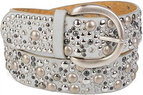 styleBREAKER Nietengürtel im Vintage Style / breiter Damen Gürtel mit Nieten und Strass / kürzbar 03010020 (Hellgrau, 80cm) (Strass Gürtel Western Schwarz)