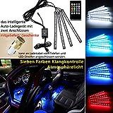 Auto Atmosphäre Licht Innenraumbeleuchtung Autozubehör Lichtleiste Innenbeleuchtung Lampen Dekorative Lichter mit Sound Active Funktion und kabelloser Fernbedienung Dual-USB-Port Autoladegerät Autoteile