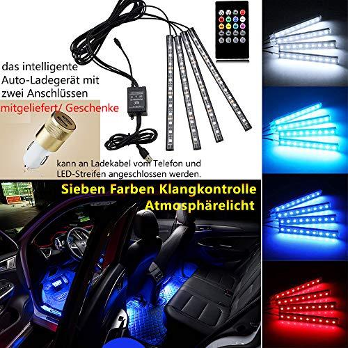 ht Autozubehör Dekorative Lichter Ambience Lights Beleuchtung mit Sound Active Funktion und kabelloser Fernbedienung Dual-USB-Port Autoladegerät Autoteile ()