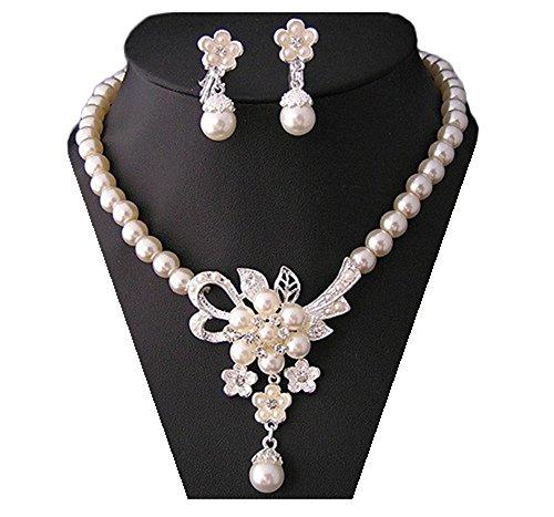 Miya ® mega luxus glamour parure de bijoux à perles collier et boucles d'oreilles avec fleurs, très joli bijoux de mariée mariage abendveranstaltung party jugendweihe perle de cristal