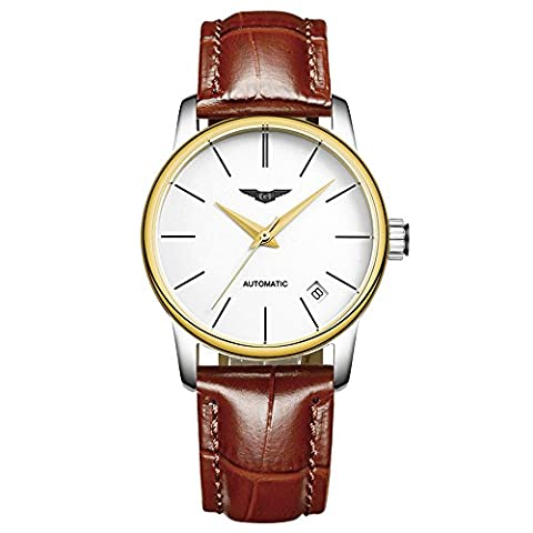 guanqin beliebten Marke Modische Analog Damen Armbanduhr Automatik Mechanische Automatik Wasserdicht Kalender Echt Leder Band Armbanduhr Einzigartiges Design Gold Weiß Braun