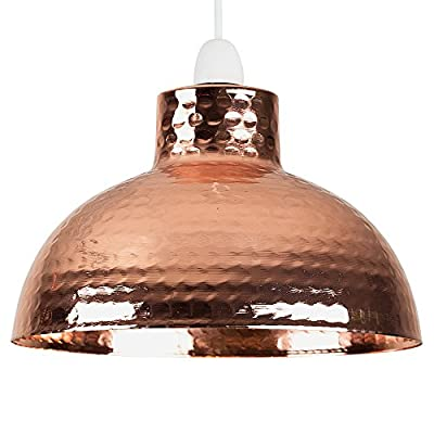 Retro Style Hammered Copper Metal Effect Dome Ceiling Pendant Light Shade by MiniSun