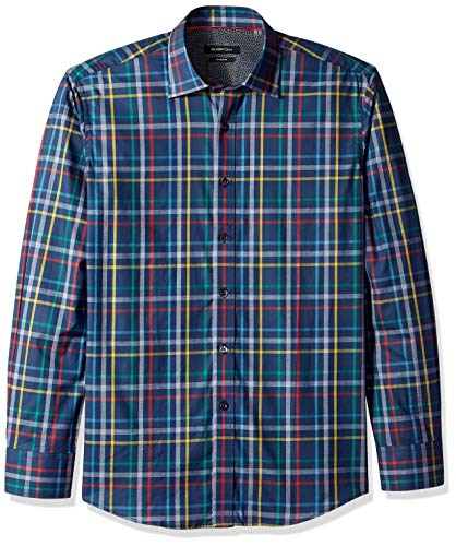 Bugatchi Herren Tappered Fit Madras Check Long Sleeve Woven Shirt Button Down Hemd, Navy, XX-Large -