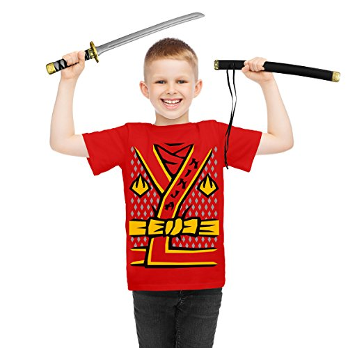 (Ninja Samurai Kostüm Verkleidung Karneval Fasching - Kinder T-Shirt + Schwert Shirt Rot XS 140/152 (9-11J) / Schwert OS)