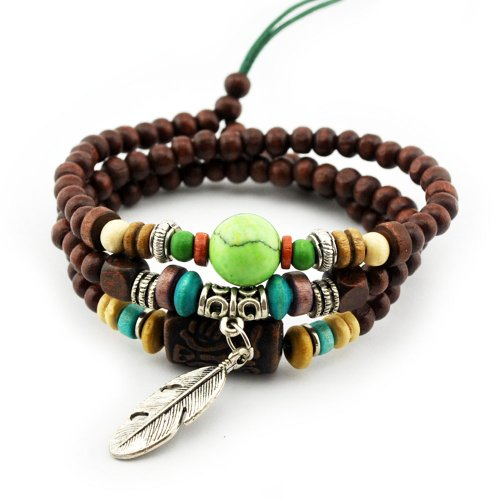 axy TWIC12-8 TIBET WICKELARMBAND SERIE 12! Armband+Halskette Bracelet Necklace!Holz Perlen Surferarmband Herren Damen Schmuck
