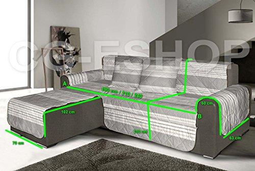 Confezioni.giuliana copridivano trapuntato divano angolare penisola shabby rigato grigio pezzo unico (seduta 210 cm)
