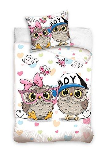 3D Bettwäsche Eulen Mädchen und Junge 100% Baumwolle Kinder Bettwäsche 135x200 cm (Oeko Tex Standard 100) (Bettwäsche Mädchen-sport)