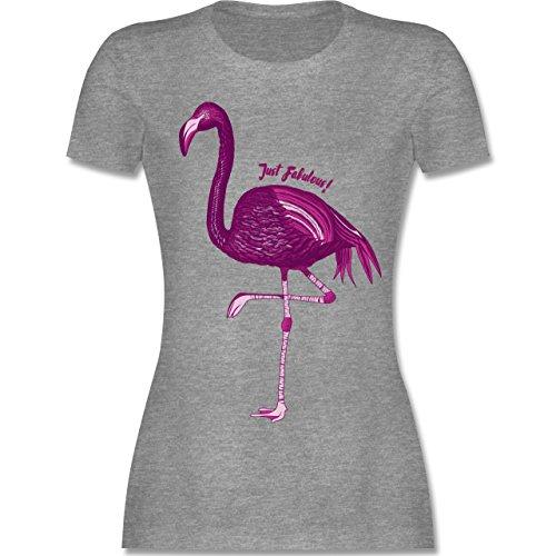 Shirtracer Vögel - Flamingo - Just Fabulous - Damen T-Shirt Rundhals Grau Meliert