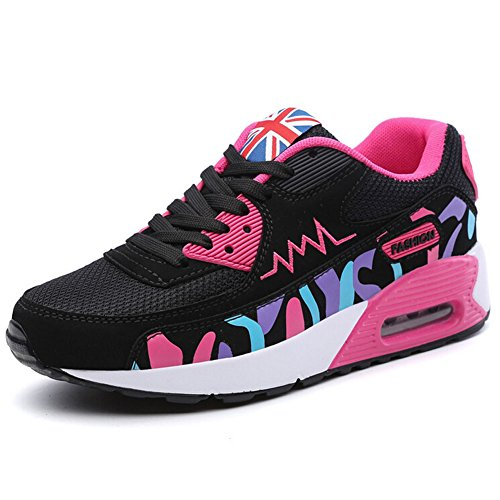 Kivors WOMENS GIRLS RUNNING TRAINERS GYM FITNESS SPORTS JOGGING SHOES SHOCK ABSORBING SIZE AIR WALKING TRAINERS 3 UK - Black