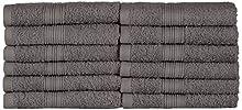 NatureMark NM-HT0816 Asciugamani Ospiti in Spugna, Confezione da 12, 30 x 50 cm, 100% Cotone Antracite/Grigio