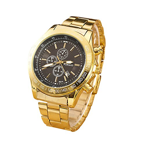 Herren Edelstahl Uhren,Kimdera Männer Luxus Elegant Design Kalender Goldene Uhr Unisex Business Mode Kleid Analog Quarz analog Armbanduhr (Silber-Gold)