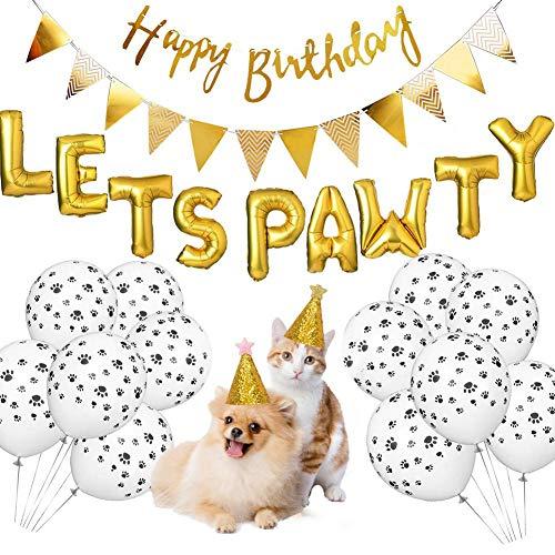 soundwinds Dog Birthday Party Supplies Dog Party Dekorationen Alles Gute zum Geburtstag Banner Dog Footprint Form Aluminiumfolie Ballon für Haustier Welpe Katze Hund Geburtstag Dekorationen