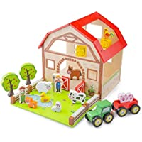New Classic Toys 10850 Wooden Farm House Playset, Multi Color