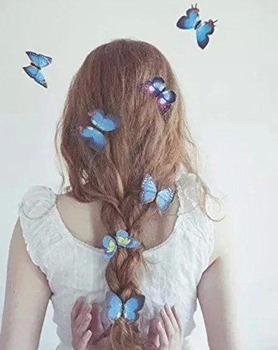 Cuhair(TM), blaue Schmetterlings-Haarspange für Damen und Mädchen, Hochzeit, Dinner-Party, Haar-Clip, Spange, Accessoire, 8 Stück