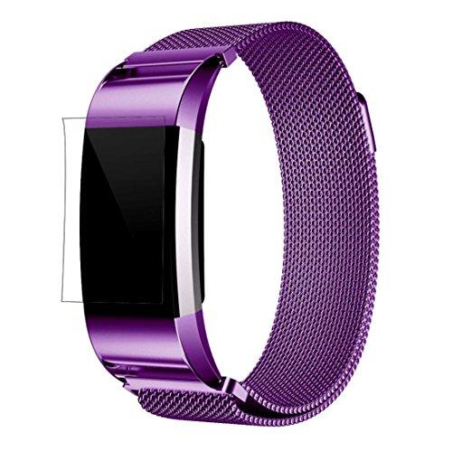 Culater Pulsera de acero de la correa de la venda del reloj del acero inoxidable de Milanese + película de HD para Fitbit Charge 2 Púrpura