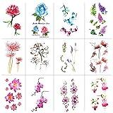 Konsait 12 Blätter Rose Blume Temporäre Tattoos für Frauen Erwachsene...