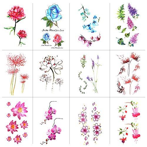 Konsait 12 Blätter Rose Blume Temporäre Tattoos für Frauen Erwachsene Mädchen, Tätowierung Aufkleber Wasserdicht Temporäre Klebe-Tattoos zum aufkleben auf die haut