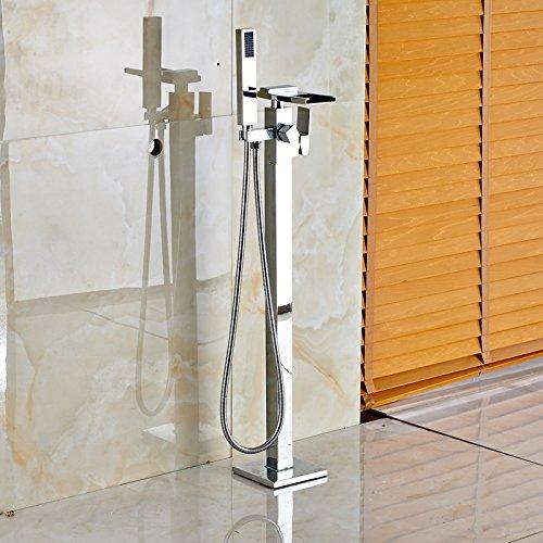 Galvanik Retro Wasserhahn Chrom, glänzend einzigen Griff Wasserfall Armatur Badewanne freistehend auf dem Boden montiert Messing Whirlpool Mixer Füller mit Handdusche, Klar