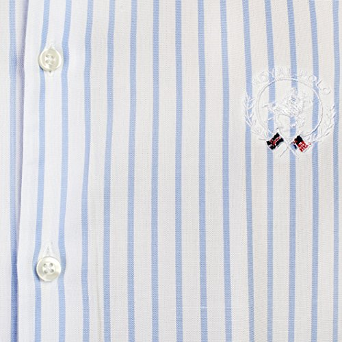 Royal Polo Herren Liverpool Hemd, kariert, langärmlig weiß blaue Streifen