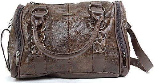 Damenhandtasche/Schultertasche aus weichem Leder Dunkelbraun