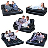 NEW 5 IN 1 DOUBLE BLACK INFLATABLE AIR SOFA CHAIR...