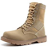 Jamron Unisex Mens Womens Fashion Combat Boots Desert Boots Non-Slip Outdoor Hiking Trekking Boots Sneakers Mid-Calf Khaki SN1705 UK9.5