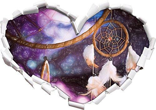 Traumfänger mit lilanem Hintergrund Kunst Buntstift Effekt Herzform im 3D-Look , Wand- oder...
