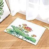 cdhbh Aquarellzeichnung Pflanze Bad Teppiche für Badezimmer Pink Lotus Blume mit Blätter Samen Rutschfeste Fußmatte Boden Eingänge Innen vorne Fußmatte Kinder Badteppich 39,9x 59,9cm