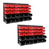64tlg Stapelboxen Wandregal Set   Werkstatt Lager Schraubenbox   Werkstattregal Lagerregal   Box Sortimentskasten Regal   Regalsystem Steckregal