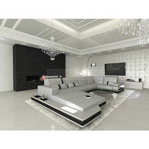 Mega Intérieur de la maison Messana forme U Gris - Noir Canapé Canapé d'angle design Canapé en cuir