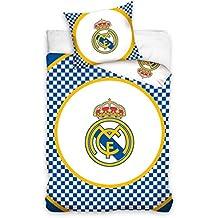 Real Madrid FC Juego de funda de edredón individual, algodón, diseño de cuadros, color azul