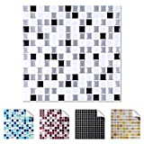 Wandaro 4er Pack 25,3 x 25,3 cm schwarz weiß Silber Design 1 I 3D Fliesenaufklebergroße Mosaik Auswahl für Küche Bad Fliesenfolie selbstklebend Wandaufkleber W3329