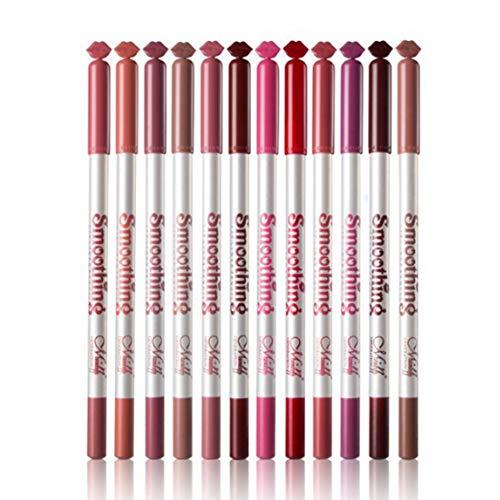 Isuper Liner Crayon à lèvres Salon étanche en Bois Maquillage Crayon à lèvres 12 Couleurs cosmétiques Matte Lip Liner 12pcs / Set