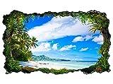3D Wandtattoo Landschaft Malediven Strand Meer Bild selbstklebend Wandbild sticker Wohnzimmer Wand Aufkleber 11H318, Wandbild Größe F:ca. 162cmx97cm