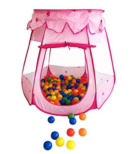 300 Stück bunte Bälle inkl. Zelt in Pink für Kinder, Babys und Tiere , 55mm - Für Bällebad Hunde