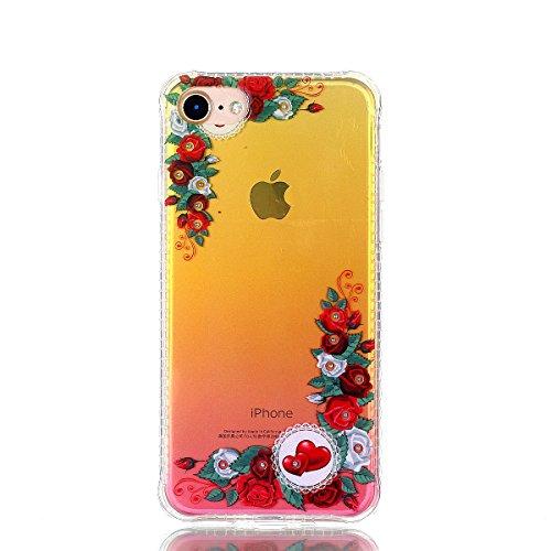 Cover iphone 7 / iphone 8, Custodia iphone 7 / iphone 8, Cozy Hut Premium Beautiful IMD Craft Gradient Color Design per iphone 7 / iphone 8 Cover Custodia Silicone Transparente Pulire Stampa TPU Back  Rosso rosa