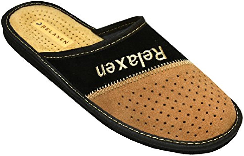 Relaxen Zapatillas de Estar por Casa para Hombre De Gamuza Tamaño 40 - 46 EU Negro-Beige Modelo MZ06