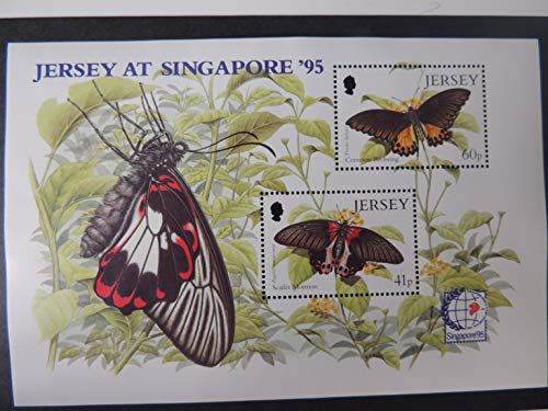 Jersey 1995 Butterflies miniature sheet m/s SG722 u/m (see scan, these are the stamps you will receive) common birdwing scalet mormon singapore '95' stamp exhibition JandRStamps