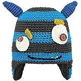 Salewa Unisex-Kinder Baskenmütze Monster, Grau/Hellblau Stile Mostro Con Orecchie Blu, 53 cm (ab 4 Jahren)