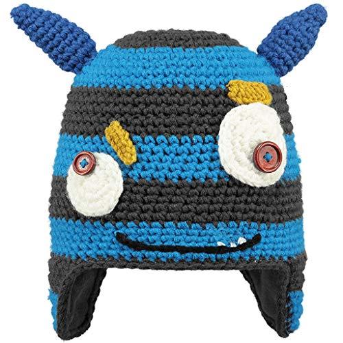 Salewa Unisex-Kinder Monster Baskenmütze, Grau/Hellblau Stile Mostro Con Orecchie Blu, 53 cm (ab 4 Jahren)
