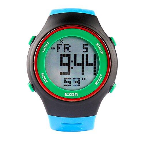 EZON Herren Lässige Digital Sport Uhren Mit 3ATM Wasserdicht / Alarm / Stoppuhr / Countdown Timer / 50 Jahre Kalender L008B12 (Blau) -