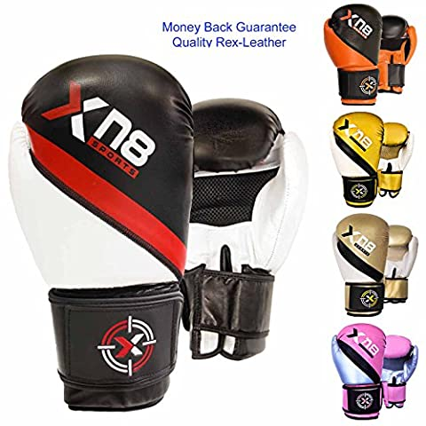 Rex Leather Boxing Glove MMA Muay Thai Punch Bag Sparring Fight Pad Kickboxing Martial Arts Training Gloves(Black Red) (10