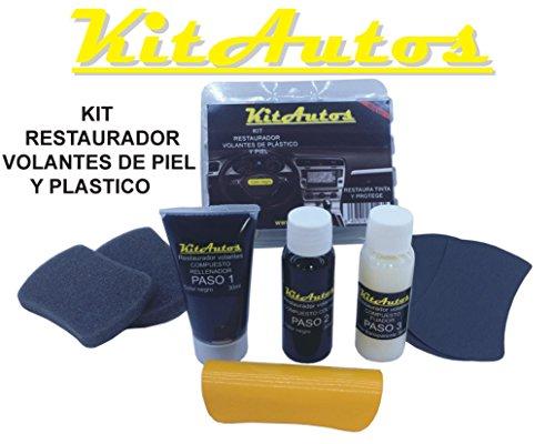 Kit restaurador volantes de piel y plastico COLOR NEGRO.