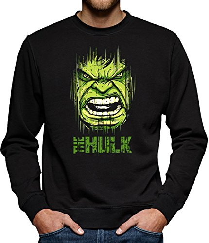 Flash Kostüm Serie Tv (TLM Hulk Face Sweatshirt Pullover Herren XL)