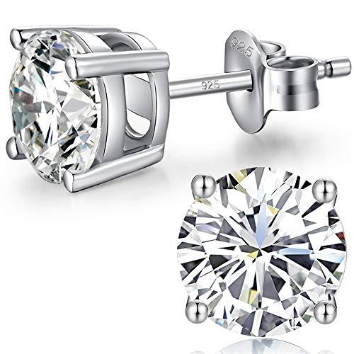 Herren Silber Ohrstecker Zirkonia Damen Diamant Schwarz Ohrringe 925 Sterling Silber Swarovski Ohrringe