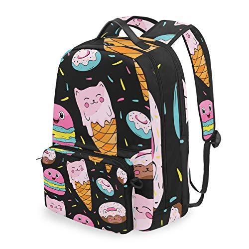 DOSHINE Abnehmbarer Reise-Rucksack, Cartoon, Süßes EIS, Schulranzen für Herren, Damen, Jungen, Mädchen, Kinder -