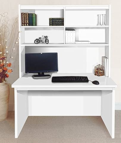 B-RDK-OI-IN-WH White Computer Desk Table Hutch Unit Kids Living Room Home Office Furniture UK Contemporary Big Large For In Cabinet PC Bedroom Laptop Gamers DJ Decks imac Bay