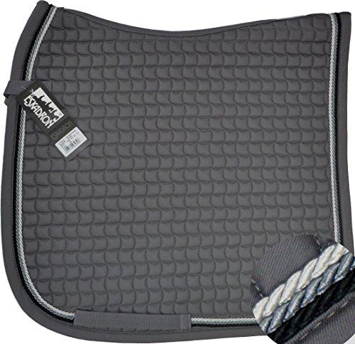 ESKADRON Cotton Schabracke grau, 3fach Kordel black,anthrazit,silberfarben, Form:Dressur