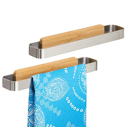 mDesign Toallero sin talado – Perchero adhesivo, ideal para paños de cocina...